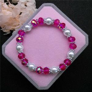 Jewelry - Pearl Pink Crystal Glass Beaded Stretch bracelet!